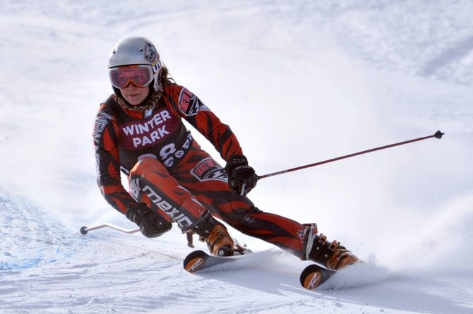 University of New Mexico skier Mary Rachel Hostetter rounds a gate at a competition earlier this season. Hostetter is one of five Steamboat Springs athletes prepping for the 2013 NCAA Championships this week. 
