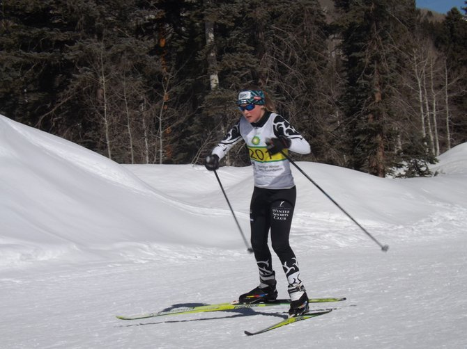 Steamboat Springs skier Avery Harrington competes in Durango during the weekend. Harrington won both of her events and was named the Rocky Mountain Nordic Seasonal Award winner for the girls J4 division.