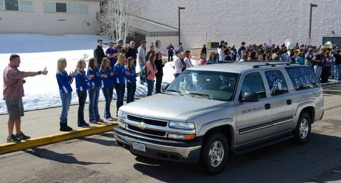 Moffat County students, teachers and parents cheered on the boys basketball team as it left Thursday for its regional game in Brush. The boys play The Classical Academy at 5 p.m. Friday.