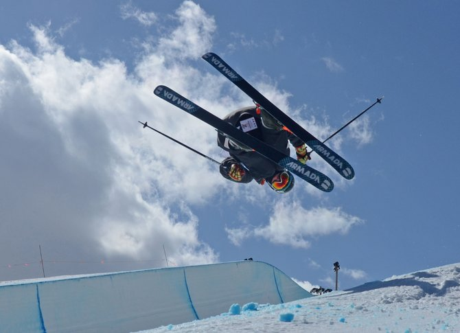 Lennon Vaughn flies above the half-pipe during the Junior National skiing freestyle half-pipe competition in Park City, Utah. Vaughn placed fourth in the event.