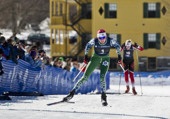 Dartmouth College skier Mary O'Connell, of Steamboat Springs, skis to a fourth-place finish Saturday in the 15-kilometer freestyle mass-start event.