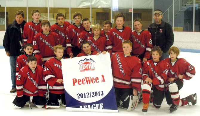 The Steamboat Springs peewee A team advanced to the state tournament this weekend. The team opens Friday in Denver against Arapahoe. Pictured, back row from left, are coach KC Kelley, Nate Kelley, David LaPointe, Fischer Matthews, Nick Kocik, Matt Kempers, Tucker Canon, Johnathan Kaminski, Luke Borgerding, Quinn Morton and coach Tim Aigner. Front row from left are Will Coon, Lucas Coon, Riley Noble, Gabe Aigner, Peyton Tritz, Cisco DelliQuadri and Will Eck. Not pictured are coaches Bill Eck and Terry DelliQuadri.