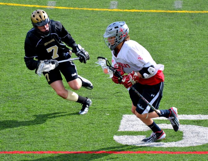 Steamboat Springs lacrosse player Tyler Scott plays against Green Mountain on Saturday. The Sailors won, 7-3.