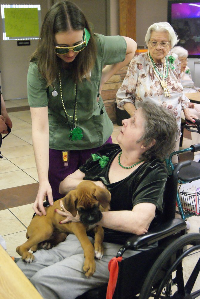 Kelly Cashmore chats with resident Dona Nunally while she holds puppy, Indigo, at Sandrock Ridge on Sunday during the St. Patrick's Day party. Residents dressed up in green and ate green colored food and punch to celebrate.