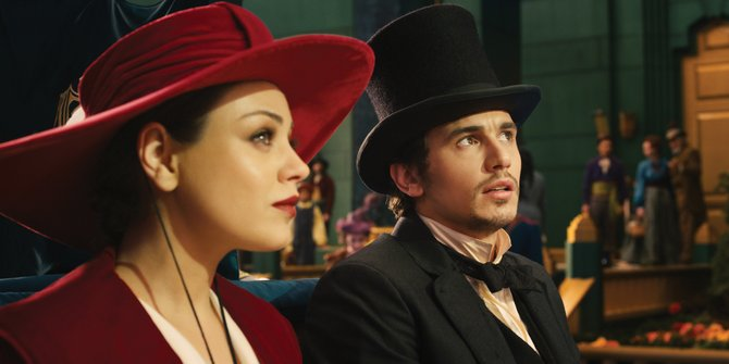 "Theadora (Mila Kunis) and Oscar Diggs (James Franco) enter Emerald City in ""Oz the Great and Powerful."" The movie is a prequel to ""The Wizard of Oz"" and tells the story of how a stage magician from Kansas arrives in a land of wonder."