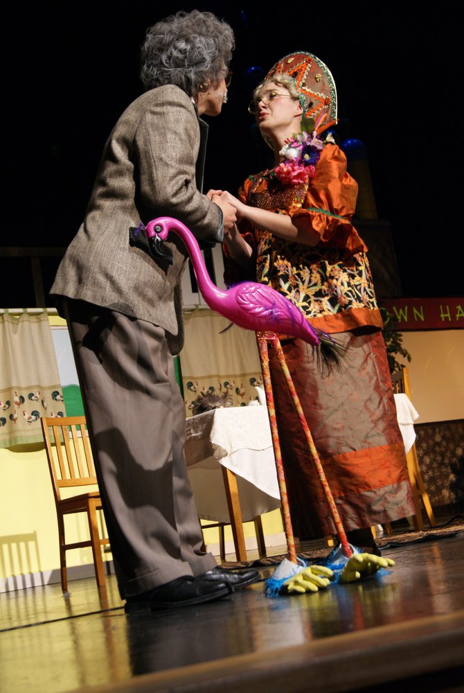 "Travis Johnson and Caitlin Harjes perform during the opening night of Moffat County High School's production of ""Fools"" by Neil Simon. The production runs through Saturday with three more opportunities for the community to watch the comedic play."