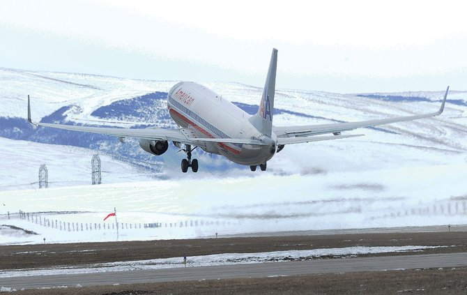 American Airlines Flight 2268 departs Yampa Valley Regional Airport for Chicago on Friday afternoon.