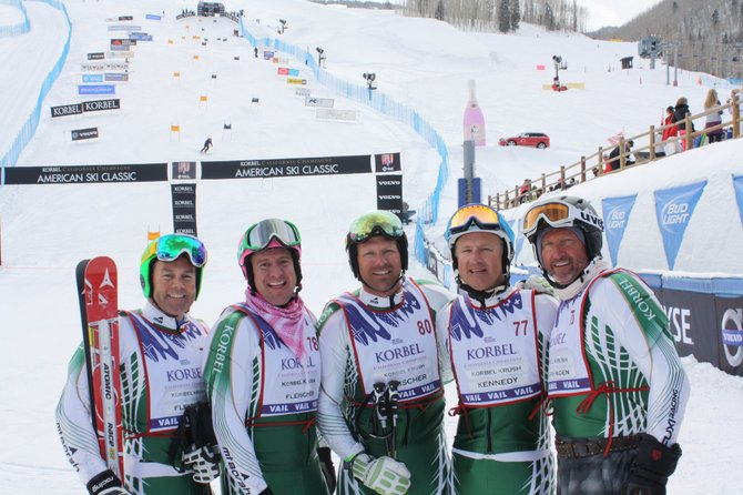 Team Fleischer celebrates after winning the American Ski Classic in Vail last weekend. Pictured from left are Jim Glendining, M.C. Malboeuf, Chad Fleischer, Todd Kennedy and Bret Saberhagen.