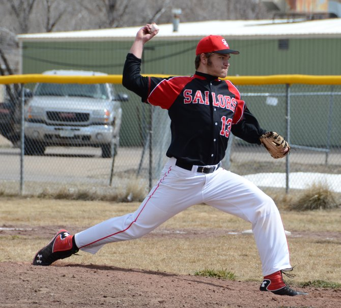 Steamboat's Ryan Jeep delivers a pitch during the first game of the Sailors' doubleheader with Eagle Valley on Saturday in Craig.