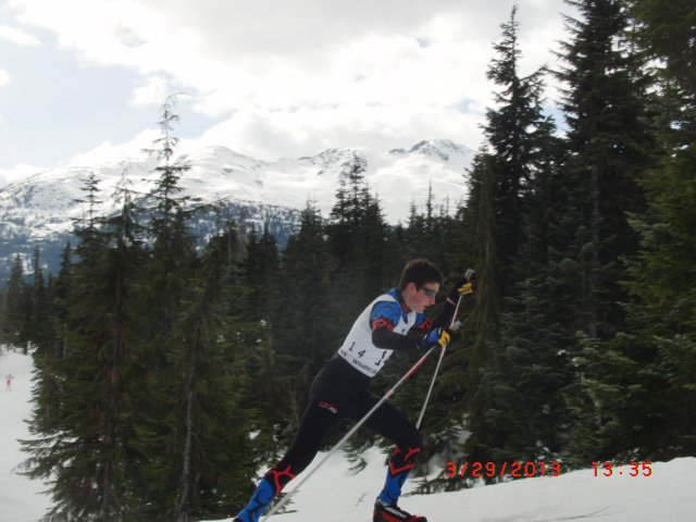 Grand Andrews skis in the Canadian National Championships men's junior Nordic combined race. He won the event.