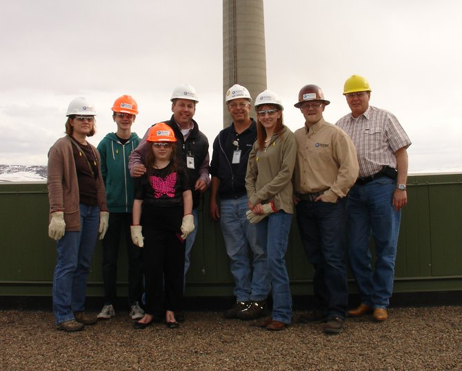 Rep. Mark Waller, fourth from left, toured the Tri-State Generation and Transmission power plant in Craig last week. The GOP's House Minority Leader was joined by, left to right: Jennifer Waller, Truman Waller, Camille Waller, Rick Johnson, Brandi Meek, Sean Villard and Chuck Grobe.