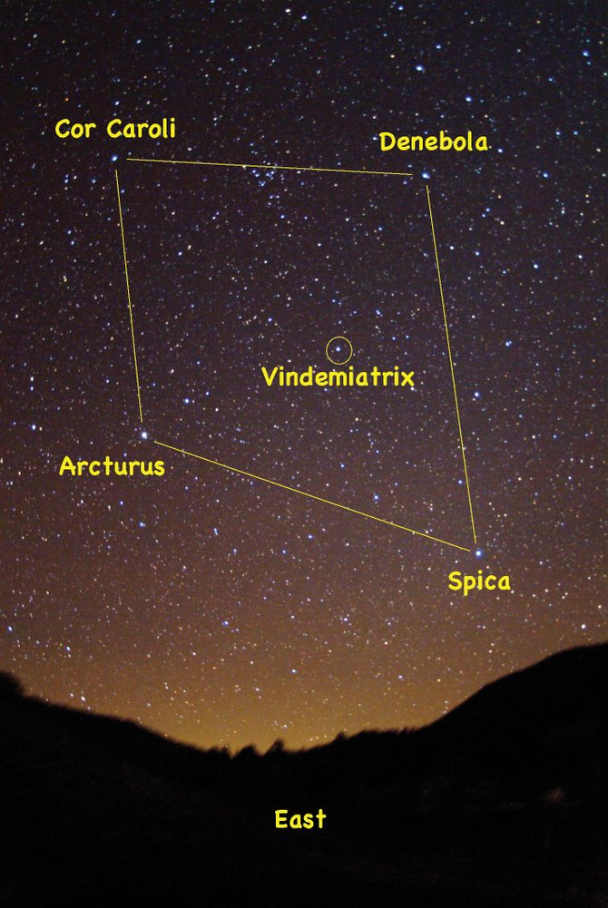 Look for the four prominent stars of the Spring Diamond in the eastern sky at about 9 p.m. this month.