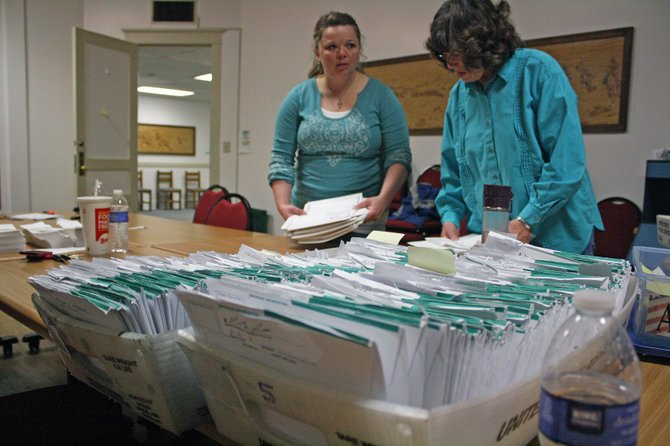 Tori Pingley, left, and Phyllis Barainca, right, organize ballots Tuesday afternoon at the Moffat County Courthouse. Tuesday was Election Day for the Craig City Council and mayoral races.
