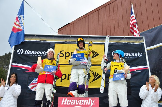 Steamboat Springs Winter Sports Club skier Sophia Schwartz stands atop the podium Saturday after winning dual moguls at the U.S. Freestyle Championships.