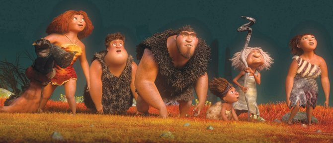 "Prehistoric family members explore a whole new world in ""The Croods."" The movie is about a cave clan forced to find a new home when natural disasters ravage the land."