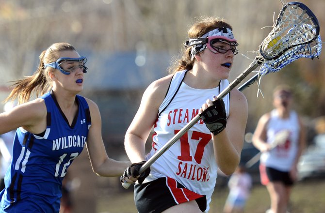 Steamboat's Sammie Cline races down the field Thursday against Fruita Monument. The Sailors lacrosse team won the game, 12-8.