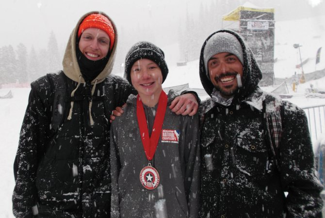 Spencer Vaughan, center, got second place in the men's 14-15 slope-style division at the USASA National Championships on Tuesday. Steamboat Springs Winter Sports Club coaches Colin Jenks, right, and Steve Maneotis also are pictured.
