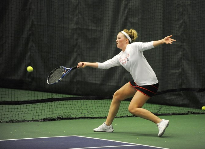 Ellie Bender returns a serve during her match Saturday at the Tennis Center at Steamboat Springs.