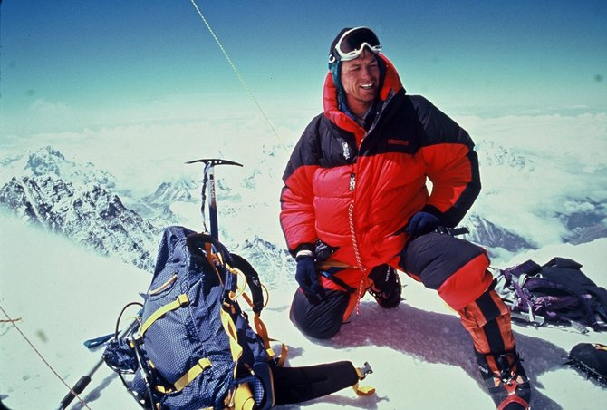 Eric Meyer sits atop Mount Everest in 2004. He's traveling back to the world's tallest mountain this month in hopes of reaching the summit for a second time.