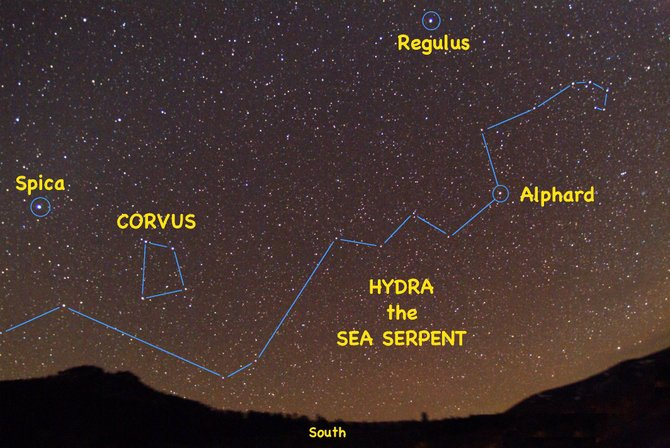 Look for the stars of the constellation Hydra snaking all the way across the southern sky at about 10 p.m. in mid-April and 9 p.m. in late April.