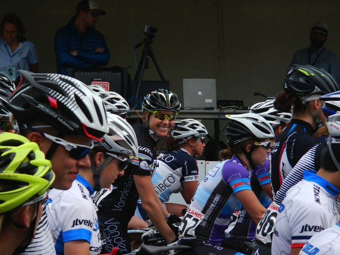 Steamboat Springs cyclist Amy Charity smiles at the start line of the fourth stage of the Redlands Classic. It was Charity's first ride with her pro team, Vanderkitten. Charity finished 17th overall.