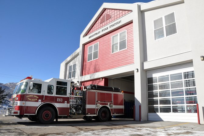 A Steamboat Springs Fire Rescue engine returns to the Mountain Fire Station after tending to a motor vehicle crash. While plans for a new police station in Steamboat are progressing, the proposal to construct a new fire station is contingent upon ongoing negotiations between the city and the rural fire district.