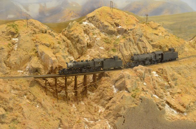 This diorama at the Museum of Northwest Colorado depicts a train crossing the Corona Pass as it makes its way  west from Denver. The museum will unveil a new exhibit about the railroad's 100 years since reach Craig.