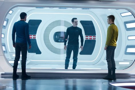 "Enterprise officers Spock (Zachary Quinto) and James Kirk (Chris Pine) interrogate prisoner John Harrison (Benedict Cumberbatch) in ""Star Trek Into Darkness."" The movie is a sequel to the 2009 hit that rebooted the 1960s TV show and subsequent film series."