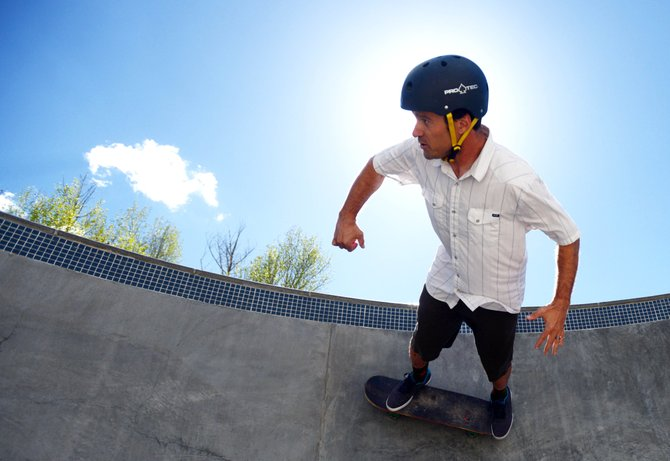 Jon Casson cuts around a bowl at the Bear River Skate Park on Thursday. Casson will be leading a series of camps at the park this summer, beginning June 17.