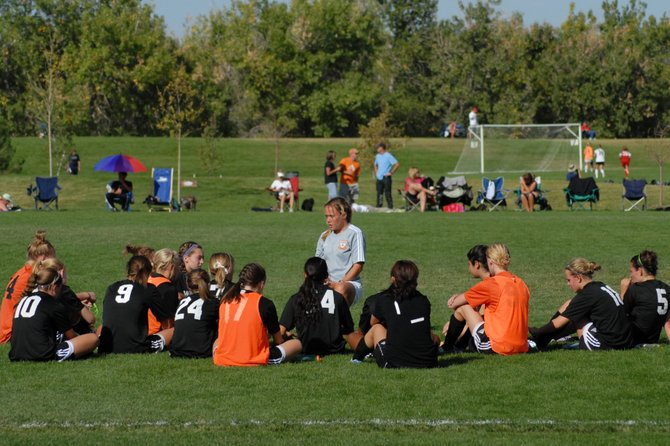 Former Steamboat Springs soccer player Kelly Labor talks to her U15 girls team in the State Cup semifinals. Labor, a 2006 Steamboat graduate, was named an assistant coach at Colorado State University. Labor will help start the program in Fort Collins, its first year in Division I soccer.