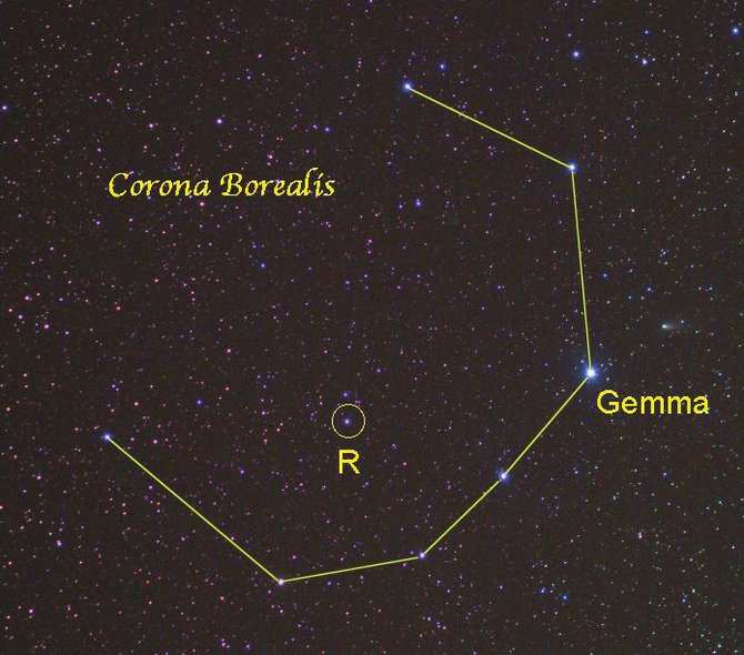 "The distinctive ""C"" outline makes the small constellation of Corona Borealis easy to locate. Look high in the eastern sky around 10:00 p.m.,not far from the brightest star of spring, Arcturus."