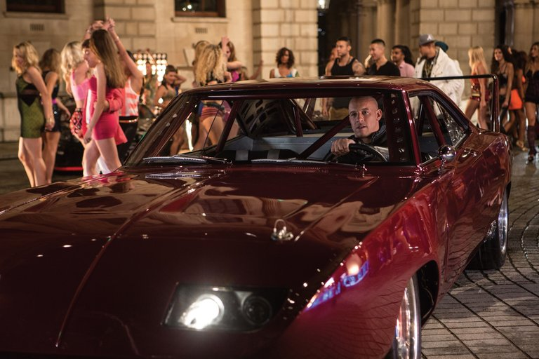 """Racer Dom Toretto (Vin Diesel) revs his engine as he prepares to head out onto the street in """"Fast & Furious 6."""" The movie is about a group of car experts who put their skills to use to take down a global criminal."""