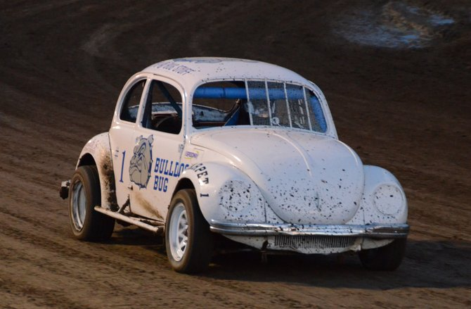 Casey Madsen races the Bulldog Bug around the track at Thunder Ridge Motorsports Park Saturday night. Madsen won the sport stock race Saturday.