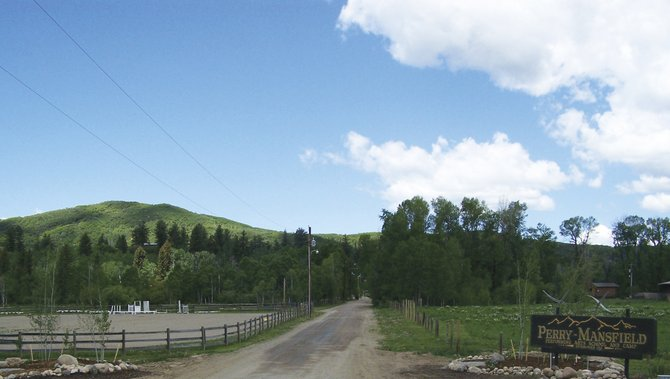 The entrance to Perry-Mansfield Performing Arts School and Camp on Routt County Road 36.