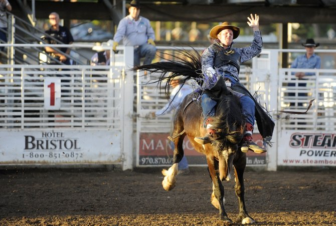 Warren Stairs, of Parker, competes in the bareback riding competition during the Steamboat Springs Pro Rodeo Series season opener rodeo June 14 at the Brent Romick Rodeo Arena. The rodeo begins at 7:30 p.m. every Friday and Saturday throughout the summer and at 6:30 p.m. July 4.