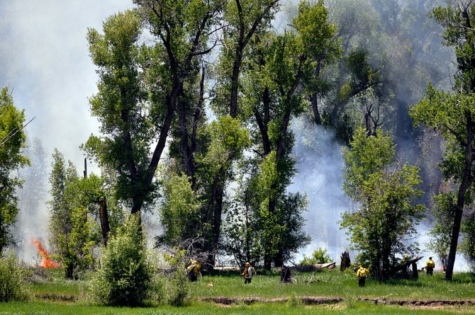 Firefighters in West Routt County battle a small wildfire near the Carpenter Ranch, just east of Hayden.