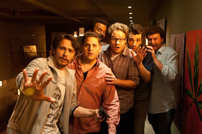 "James Franco, from left, Jonah Hill, Craig Robinson, Seth Rogen, Jay Baruchel and Danny McBride star in Columbia Pictures' ""This Is the End."""