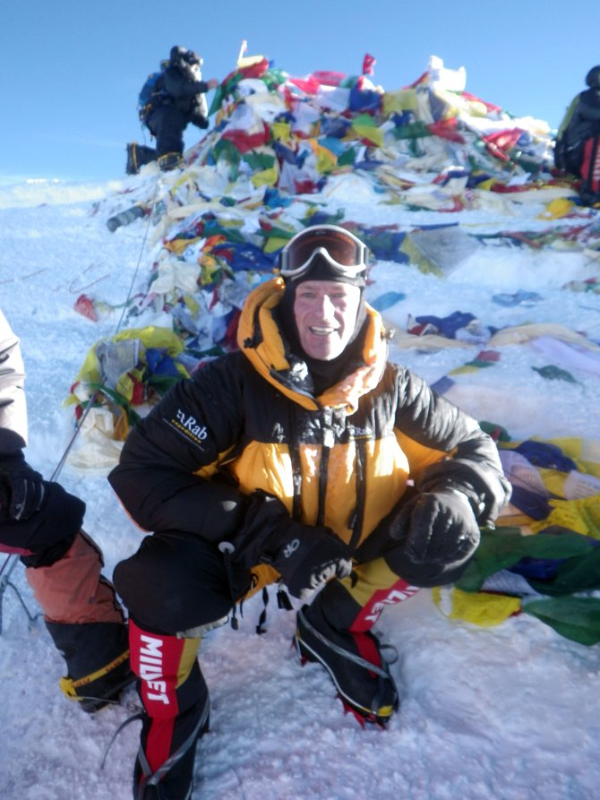 Steamboat Springs doctor Eric Meyer poses on the summit of Mount Everest in May. It was his second trip to the top, and his first since 2004.