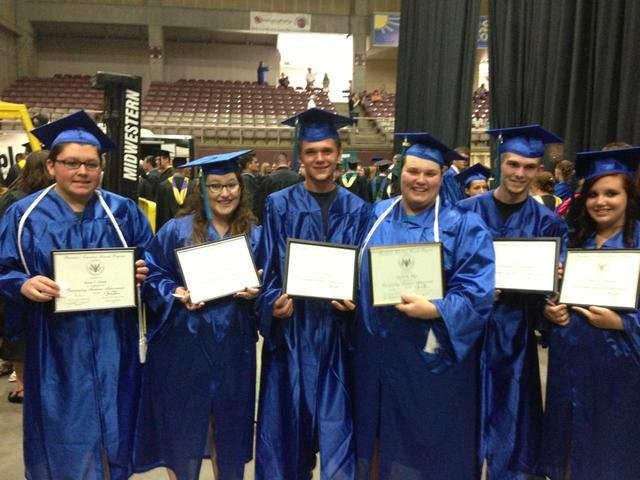 On June 8, the Colorado State Fair Events Center in Pueblo was the home to the GOAL Academy Class of 2013 graduation. Eighteen graduates were from Craig, including from left, Ryan Ernst, Tiffany Croteau, Jimmy Jo Maddox, David Allen, Matt Madsen and Myranda Marshall.