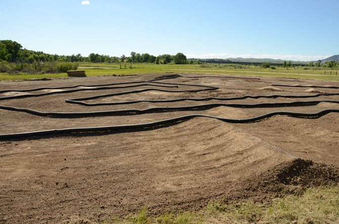 The remote control vehicle track being built at Loudy-Simpson Park is nearing completion. It should be finished in mid to late July, Dave O'Mailia said.