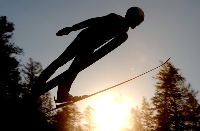 Jean Charl Pretorious flies Tuesday during the National Nordic Foundation Calcutta ski jumping event at Howelsen Hill. The event was the first of three days of jumping competitions in Steamboat Springs.