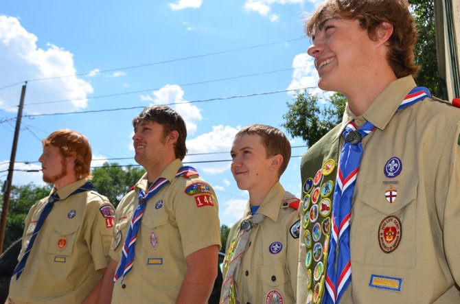 From left, Wyatt Oberwitte, Dario Georgiou, Justin McAlexander and Conner Pogline following Sunday afternoon's court of honor ceremony at Friendship United Methodist Church. Oberwitte, McAlexander and Pogline recently joined Georgiou as Eagle Scouts, the highest rank within the Boy Scouts of America.