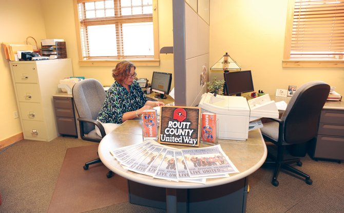 Routt County United Way Executive Director Kelly Stanford works at the group's new office inside the First National Bank of the Rockies building.