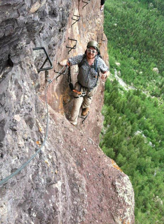 John Whipple scales Telluride's Via Ferrata earlier this year. Whipple, who will be the Outdoor Leadership Program coordinator at Colorado Northwestern Community College's Rangely campus, is one of several new staff members starting at CNCC this fall.
