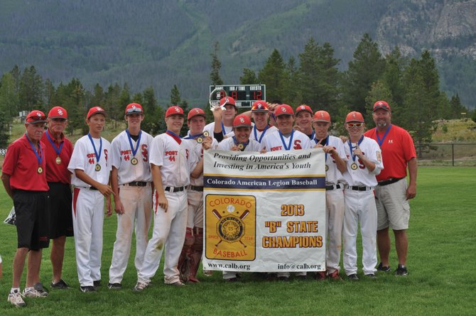 Steamboat Springs American Legion Post 44 baseball team celebrates winning the B State Championship on Saturday. The team finished the season 27-5.