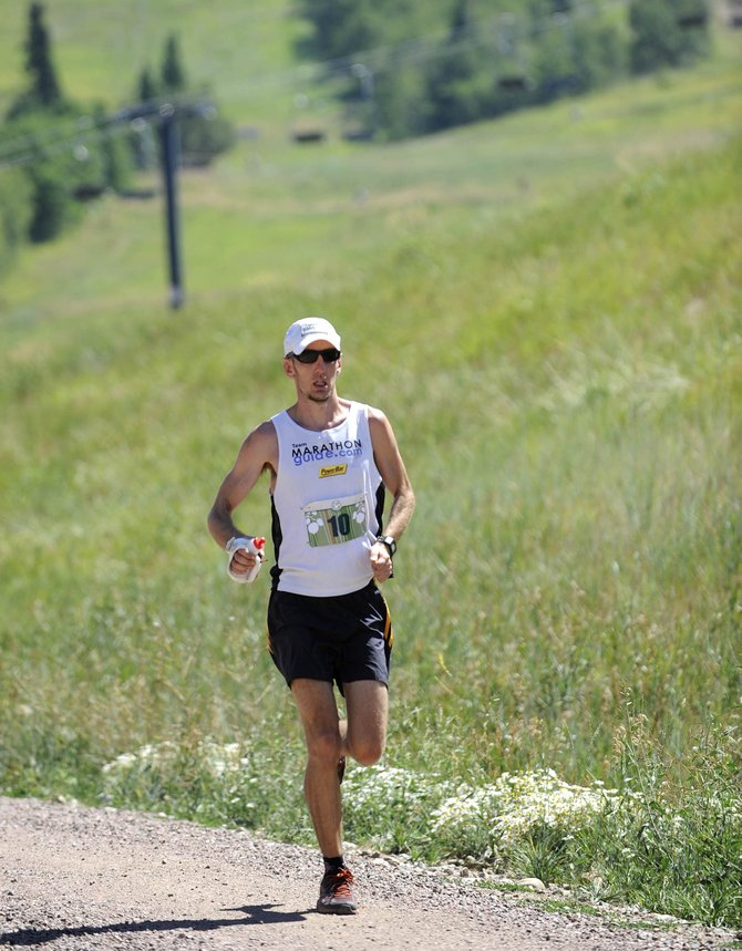 Boulder resident Trent Briney approaches the finish line during the 2012 Mount Werner Classic at Steamboat Ski Area. This year's race gets started at 7 a.m. Saturday.