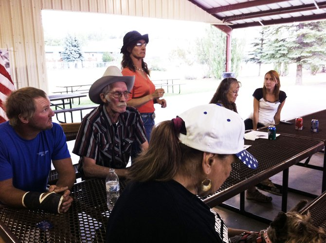 Glenda Bellio, standing, announced her bid for the office of District 3 county commissioner at a Bears Ears Tea Party Patriots Barbecue on Thursday.