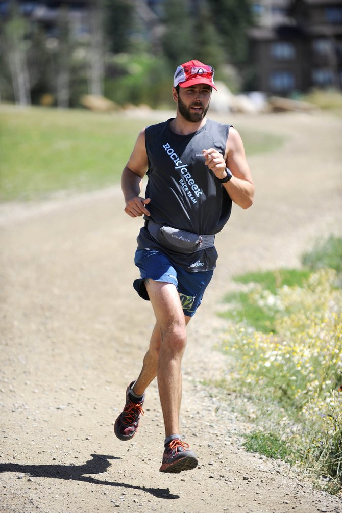 Boulder resident John Anderson approaches the finish line of the Steamboat Springs Running Series Mount Werner Classic 50-kilometer trail race Saturday at Steamboat Ski Area.