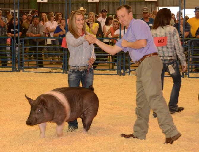 Andrea Maneotis was the champion of the senior division for showmanship in market swine Thursday evening at the 2013 Moffat County Fair. The market swine show was one of several livestock shows that took place Thursday in the livestock barn.