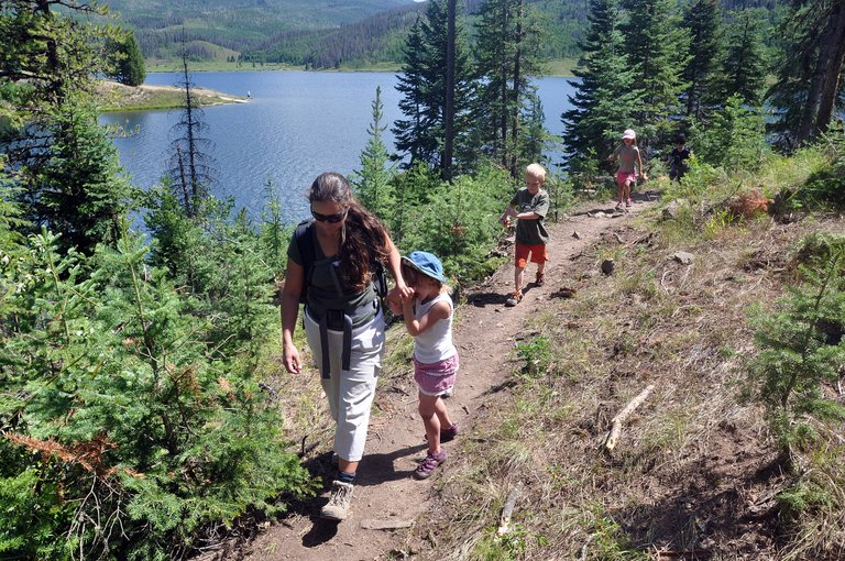 North Routt Preschool Director Kerri Ann Crocker leads a group of children on a hike around Pearl Lake. Under Crocker's leadership, the small preschool has rebounded from its sudden closure nearly two years ago.